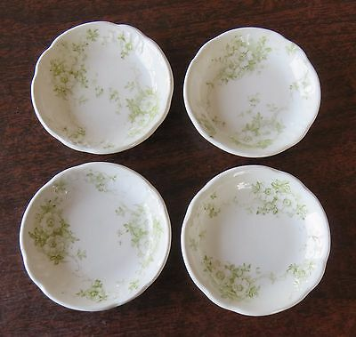4 Antique Bishop and Stonier Butter Pats with Green Leaves White Flowers