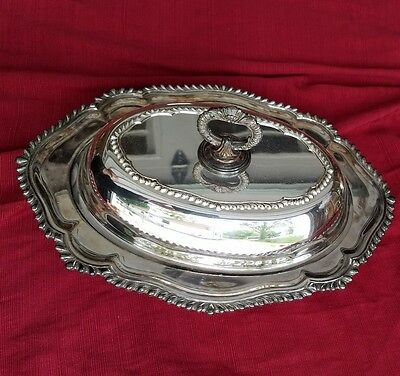 Antique Crescent Silverplate Covered Casserole Serving tray.  Pattern 6157