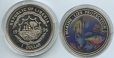G0368 - Liberia 1 Dollar 1996 Marine Life Protection KM#569 Multicolor Farbmünze