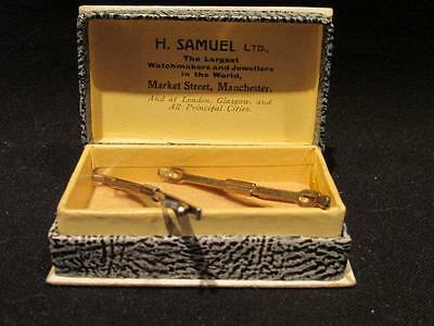 H Samuel Ltd Market Street Manchester Vintage Display Box & 2 Watch or tie Bars