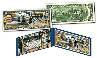 BABE RUTH Signature Series OFFICIAL Genuine Legal Tender US $2 Bill TRIPLE IMAGE