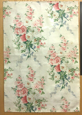 Antique 19th Century French Floral Cotton Chintz Printed Fabric  (2028)