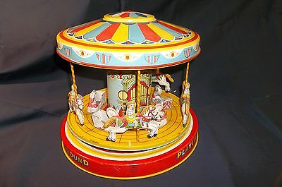 1950's J. Chein Playland Merry Go Round Carousel Tin Wind Up Litho Toy Working