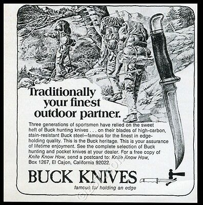 1975 Buck hunting knife knives backpacking art vintage print ad