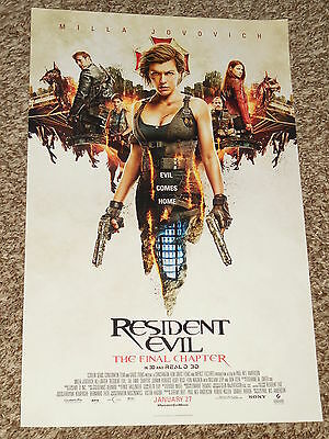 "RESIDENT EVIL: THE FINAL CHAPTER ""B"" 11x17 PROMO MOVIE POSTER"