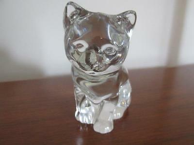 """Cat Kitten Figurine or Paperweight Clear Heavy Glass 3.25"""" Tall"""