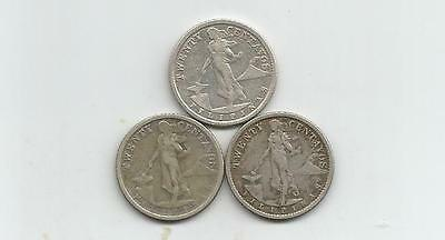 Ncoffin Us Territory 1919S 1920 1921 Philippines 20 Centavos .750 Silver Coins