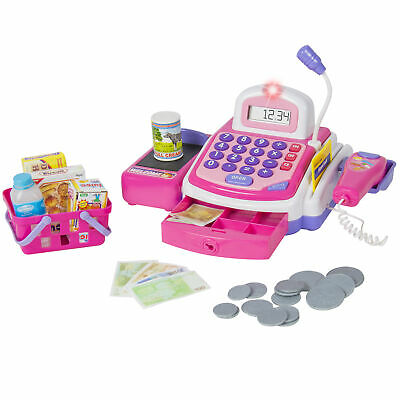 BCP Pretend Play Electronic Cash Register Toy Realistic Actions & Sounds Pink