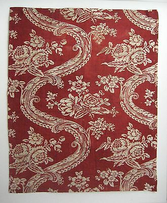 Antique Beautiful 18th C. French Floral Block Print Cotton Fabric (9460)