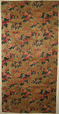 Antique Beautiful 19th C. French Floral Cotton Chintz Print Fabric (9078)