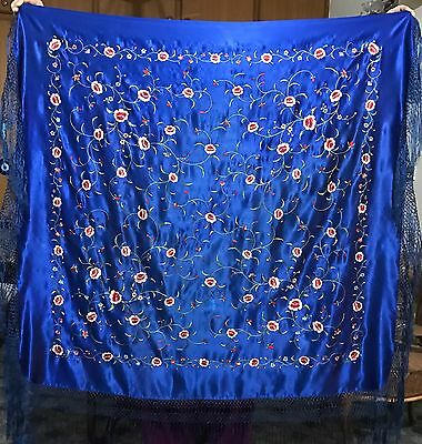 """Antique Silk Hand Embroidered Piano Shawl 43"""" By 44"""" Fringe 9"""""""