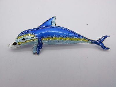 Signed ZARAH Sterling Silver & Enamel DOLPHIN Fish Pin