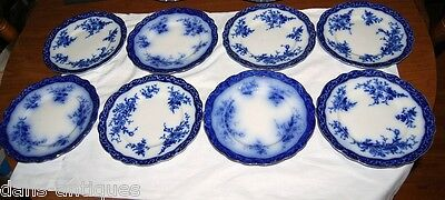 """Flow Blue Henry Alcock China  Touraine pattern - 8 luncheon plates 8.5"""" diameter"""