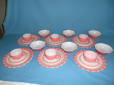1950s PINK CRINOLINE 24 PC SET for 6 - Dinner Plates Cereal Bowls Cups & Saucers