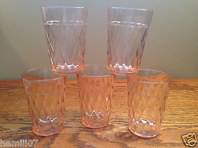 "(6) Hazel Atlas Pink Depression Glass Diamond Optic 3"" Tumblers"