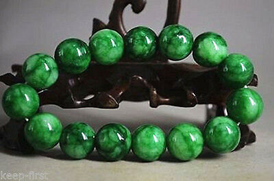 12mm 100% Natural Green Jade Jadeite Round Gemstone Beads Bangle Bracelet AAA