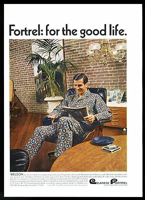 1966 Charles Eames lounge chair photo Fortrel Cranston pajamas vintage print ad