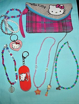 Sanrio Hello Kitty Pink Plaid Wristlet Zip Case Pouch w/Assorted Jewelry + Gift