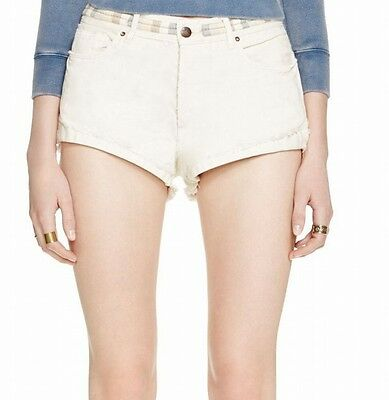 Free People NEW White Ivory Women's Size 29 Embroidered Denim Shorts $98 #586