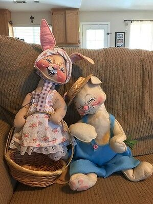 Large Pair Of Vintage Annalee Bunnies-made In USA