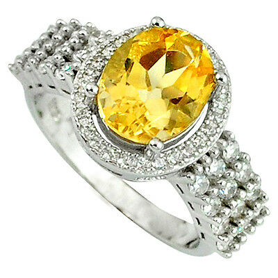 Natural yellow citrine white topaz 925 sterling silver ring size 7 a37183