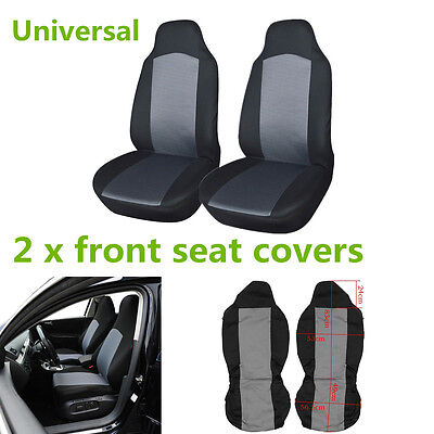 Breathable Dustproof 2Pcs Car Front Seat Protectors Covers Universal Grey &Black