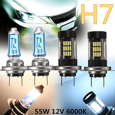 2X H7 55W 6000K 57LED Bulbs & 2pcs 100W Halogen Lamps Head Light Super Bright US