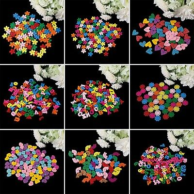 50/100Pcs Number Heart Flower Letters Wooden Buttons Sewing Scrapbooking DIY
