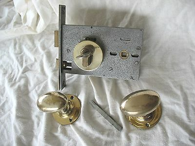 Old reclaim LAIDLAW door lock & key with solid brass oval door handles