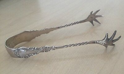 ANTIQUE STERLING SILVER SUGAR TONGS NIPS - William James Holmes 1903