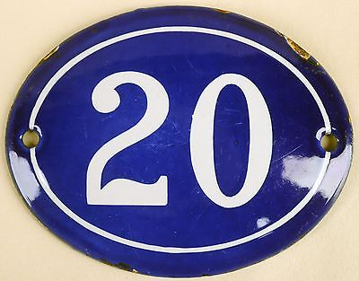 Old blue oval French house number 20 door gate plate plaque enamel steel sign