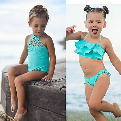 Fashion Toddler Kids Baby Girls Bikini Swimwear Swimsuit Bathing Suit Beachwear