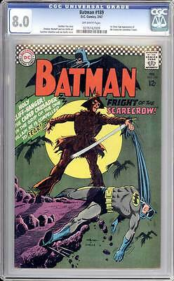 Batman # 189  First Silver Age app. of the Scarecrow !  CGC 8.0 scarce book !