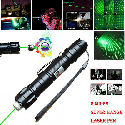 10 Miles 532nm Adjustable Focus Green Laser Pointer Beam Light Pen +Star Cap 5mw