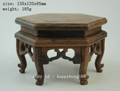 Chinese wood rosewood carved nice hexagonal display shelf stand
