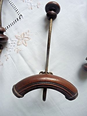 5 Antique Wood And Gilded Metal Hat And Coat Hooks