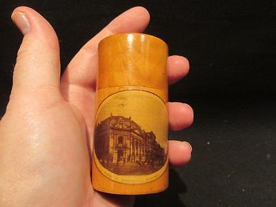 Bank of Montreal Vintage Wooden 2-Piece Match or Pin Holder with Lid