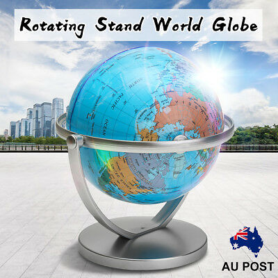 World Globe Earth Ocean Atlas Map With Rotating Stand Student School Geography