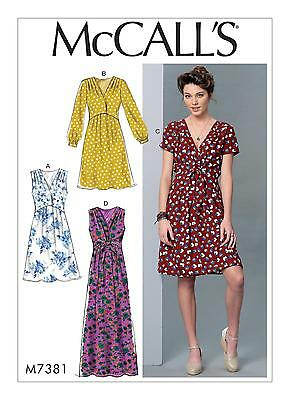 McCalls SEWING PATTERN M7381 Misses Pullover Dresses XS-M Or L-XXL