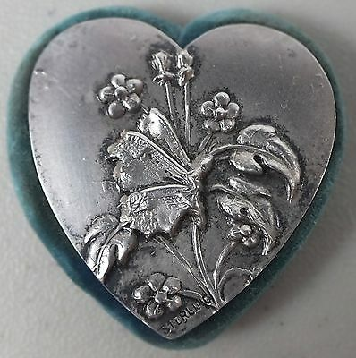 Antique Sterling Silver Pin Cushion W Embossed Butterfly & Flowers & Teal Velvet