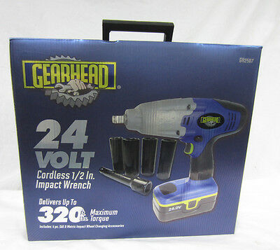 """NEW GearHead GH2507 24V Cordless 1/2"""" Impact Wrench Power Tool Complete Kit"""