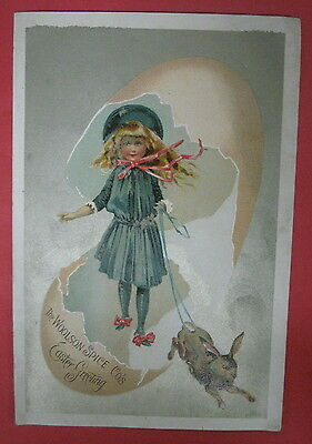 Victorian The Woolson Spice Co Lion Coffee Adv Trade Card-Easter Greeting