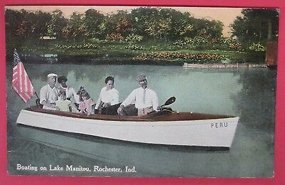 Antique Postcard-Boating On Lake Manitou-Rochester Indiana