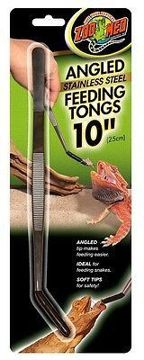 Zoo Med Stainless Feeding Angled Tongs All Animal Reptile Snake. Free Ship Usa