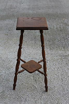 Lovely Antique Oak Pedestal Display Table Plant Stand