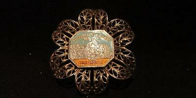 Whiteface Mt Highway The Castle NY Vintage Silver Metal & Enamel Brooch Pin
