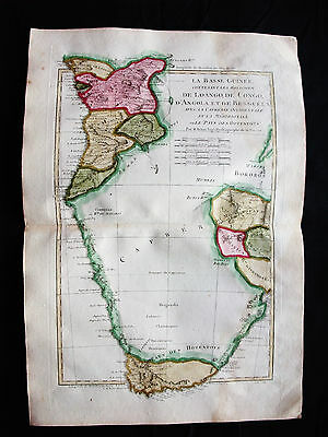 1787 BONNE/DESMAREST - rare map of SOUTH-CENTRAL AFRICA, GUINEA, CONGO, ANGOLA
