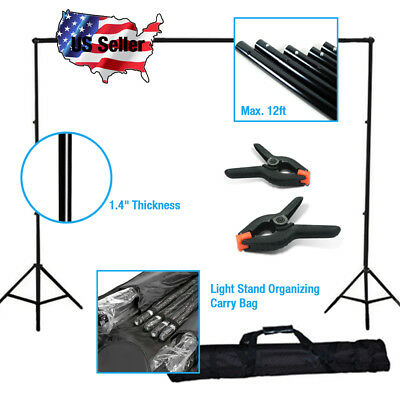 10x12' Premier Muslin Photo Backdrop Support System Stand With Backdrop Clamps
