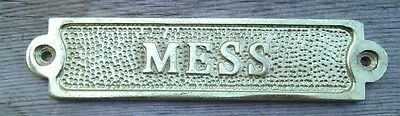 Brass MESS Sign Plaque Nautical Ship Boat Decor NEW