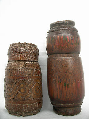 2pc BAMBOO TIMOR TRIBAL BETELNUT CONTAINER - ARTIFACT - mid 20th C.